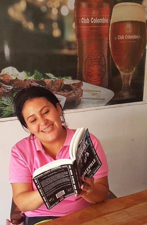 Marta Santa with Book